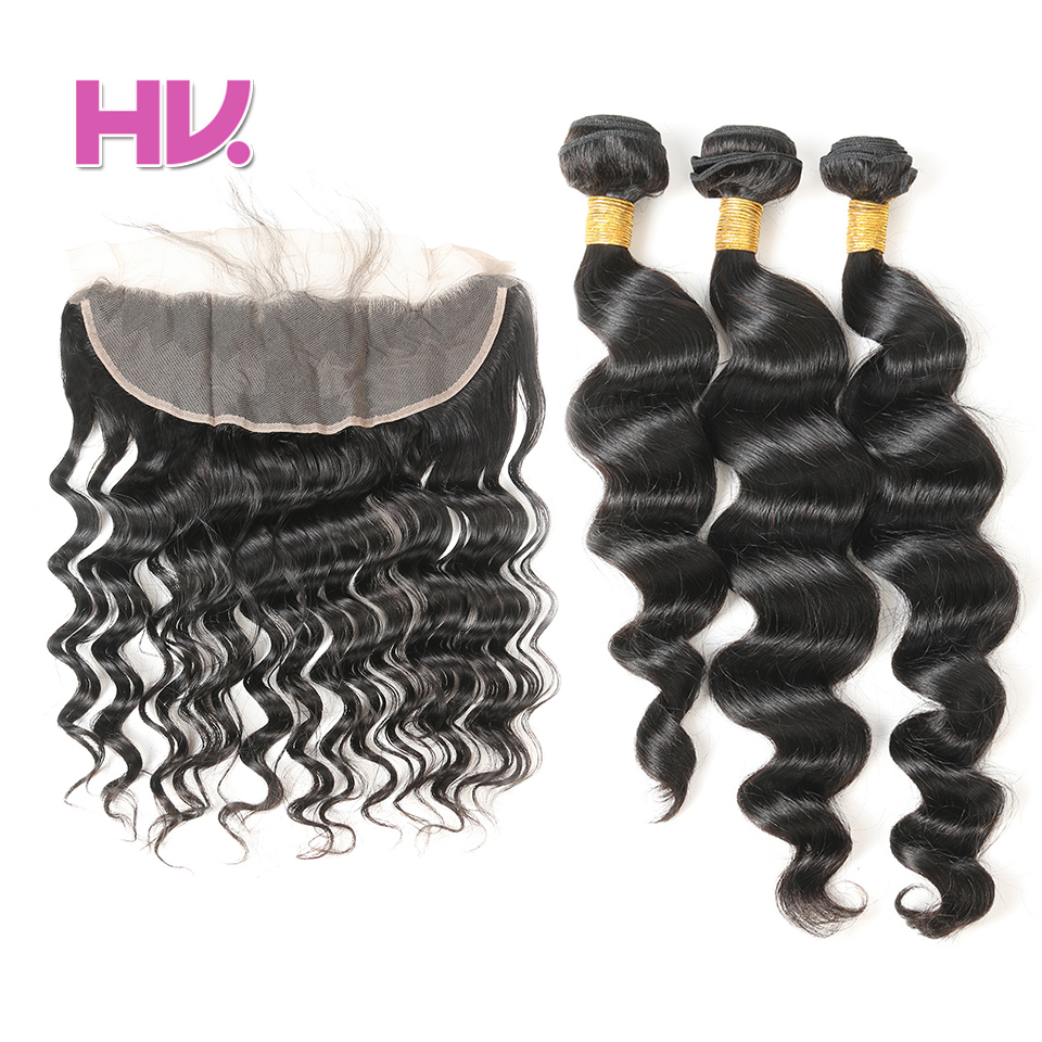 Hair Villa Pre-Colored 13*4 Brazilian Lace Frontal With Bundles Loose Wave Non-Remy Human Hair Weave #1B Natural Black