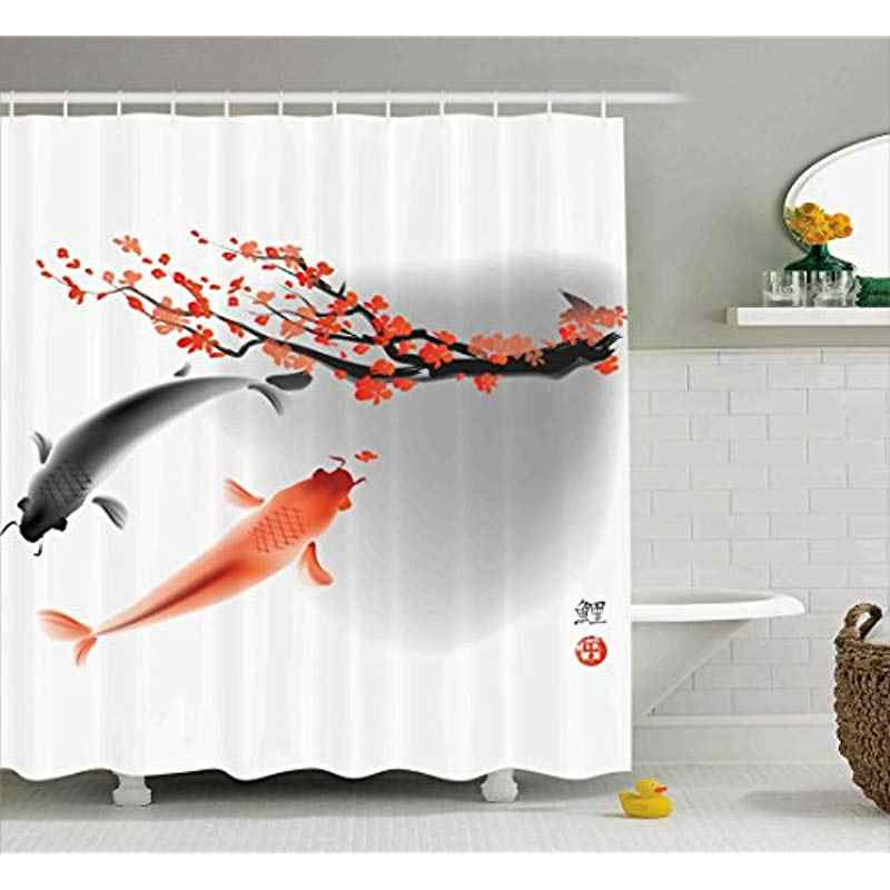 Vixm Japanese Shower Curtain Koi Carp Fish Couple Swimming with Cherry Blossom Sakura Branch Culture Fabric Bath Curtains