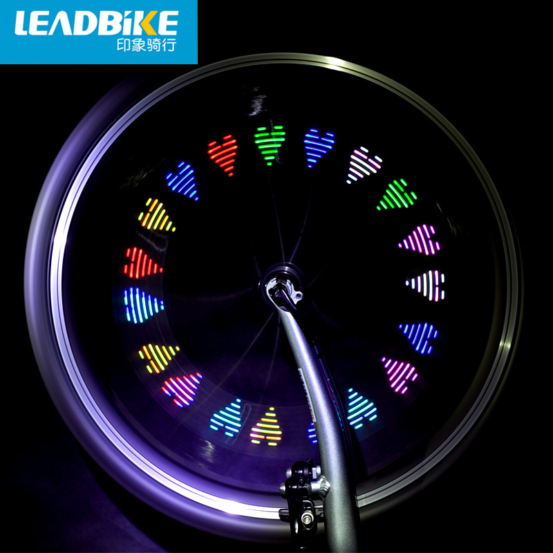 Leadbike Bicycle Light 7 LED 12 Patterns Colorful Bike Wheel Tire Valve Cap Spoke Light Cycling Accessories Wheel Light Bicycle