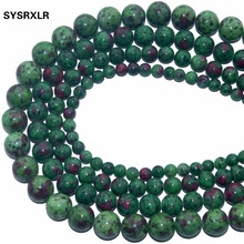 Wholesale Top AAA+ New Epidote Zoisite With Ruby  Color Stone Beads For Jewelry Making DIY Bracelet 6/8/10/ 12 MM Strand 16'' все цены