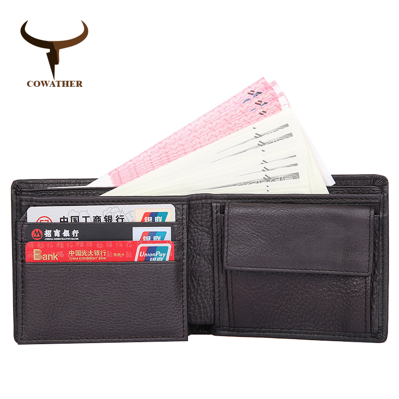 COWATHER 2017 cross 100% genuine cow leather wallets short mens wallet for men purses vintage good male purse  free shipping
