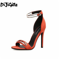 נשים רצועת קרסול העקב גבוה נעלי נשים לקיץ 2018 יוקרה סנדלי נשים נעלי חתונת טו פיפ מפלגה גבירותיי סנדלים כתום