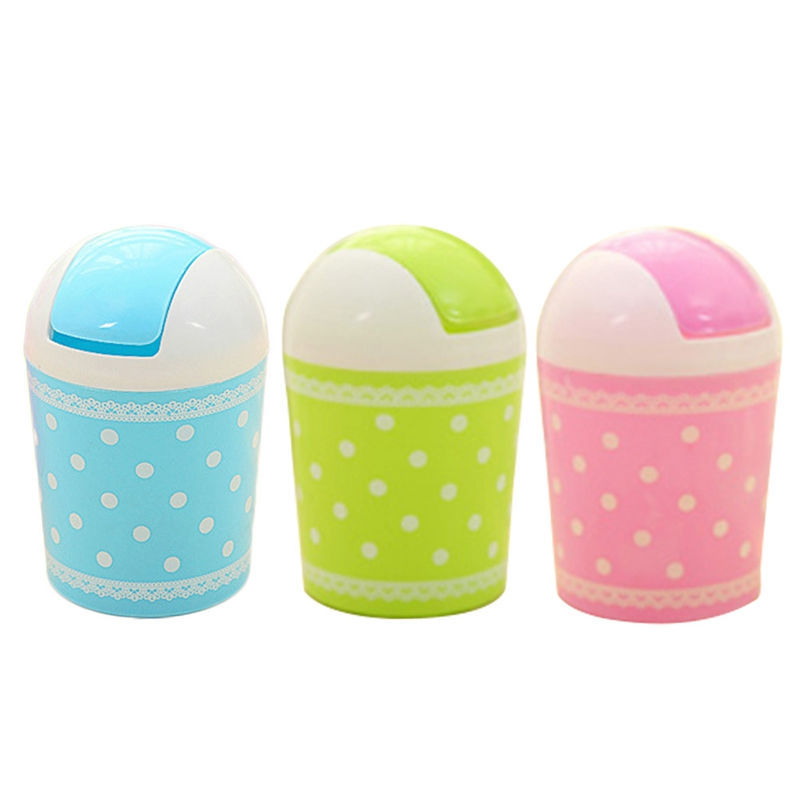 Cute Up Litter bin Mini Trash Can Garbage Rubbish Tin Waste Storage Cover Container Practical Portable Office Desk Car Trash Bin