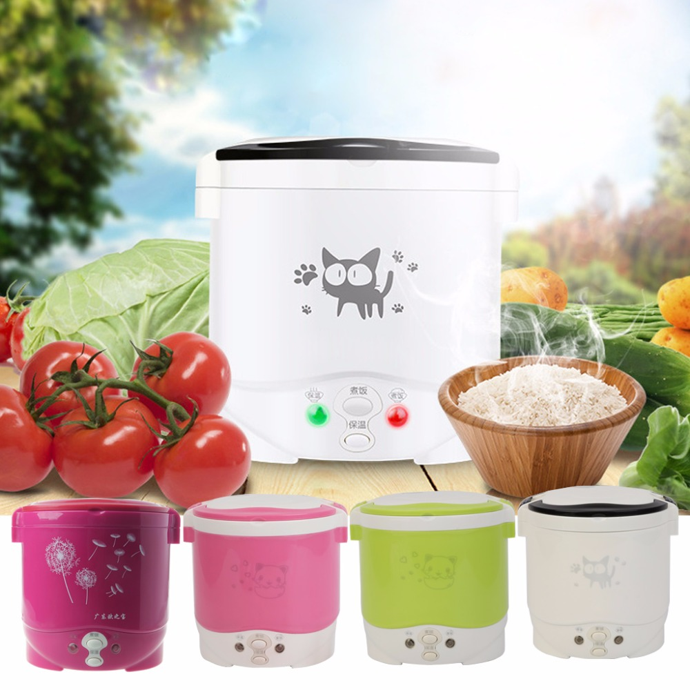 1L Portable Lunch Box Rice Cooker Steamer 220V/12V/24V Stainless Steel Inner Pot 3 layer rice cooker 2l electric heating lunch box stainless steel liner portable steamer food container thermal box 200w 220v