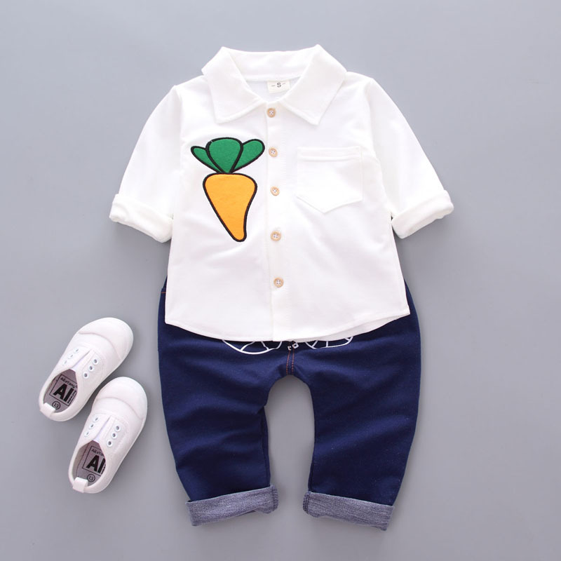 Newborn Baby Toddler Kids Clothing Set Baby Boys Gentlemen Carrot Print Shirt + Denim Jeans pants suit Boys Fashion Bebe Clothes baby boys clothes set 2pcs kids boy clothing set newborn infant gentleman overall romper tank suit toddler baby boys costume