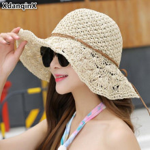 XdanqinX Foldable Adult Womens Straw Hat Summer Anti-UV Hollow Sun Hats For Women Vacation Breathable Beach Female Cool Cap