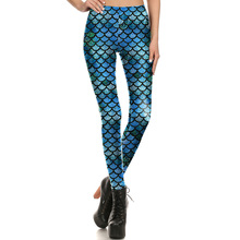 1649 Fitness Elastic Women Leggings Sexy Girl Polyester Slim Fit Workout Pants Trousers Blue Scale Mermaid