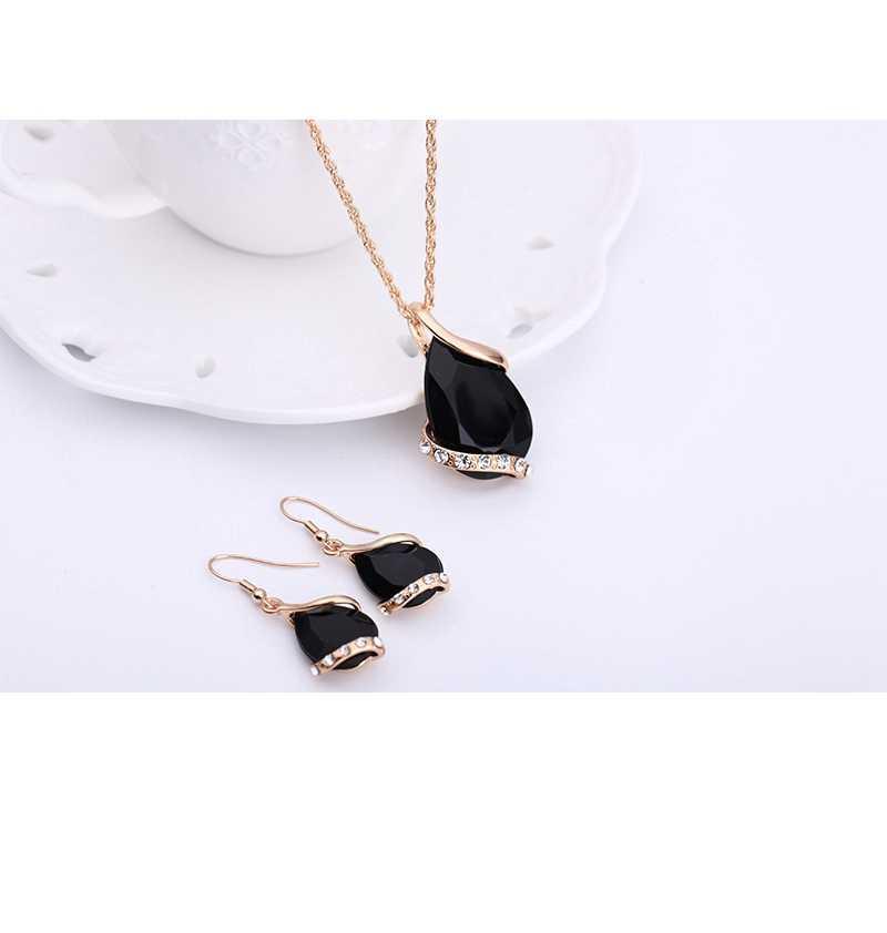Laq brincos de cristal preto colares conjuntos de jóias de cor de ouro para as mulheres design geométrico jóias de casamento