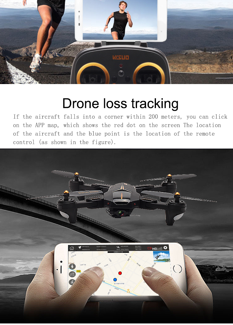 VISUO Newest GPS RC Drone 2MP/5MP HD Camera 5G WIFI FPV Altitude Hold One Key Return RC Quadcopter Helicopter VS E58 X12 XS809S 8