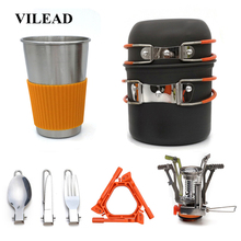 купить VILEAD Portable Camping Cookware Set Bushcraft Outdoor Hiking Cooking with Folding Pots Tableware Cup Knife Fork Spoon Gas stove по цене 1972.62 рублей