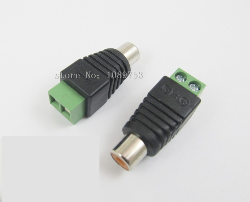 10pcs CAT5 To Camera CCTV Video AV Balun Phono RCA female jack Connector Adapter Terminal block Drop Shipping 1 pair rca male female for cctv phono rca male plug rca to 2pin spring connector cctv cat5 to camera cctv video bnc balun