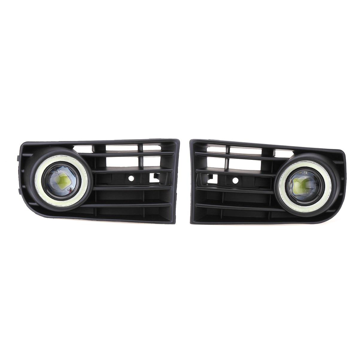Pair Car Fog Lights Grille LED Halo Angel Eye Lamp Wring Kits For VW Golf 5