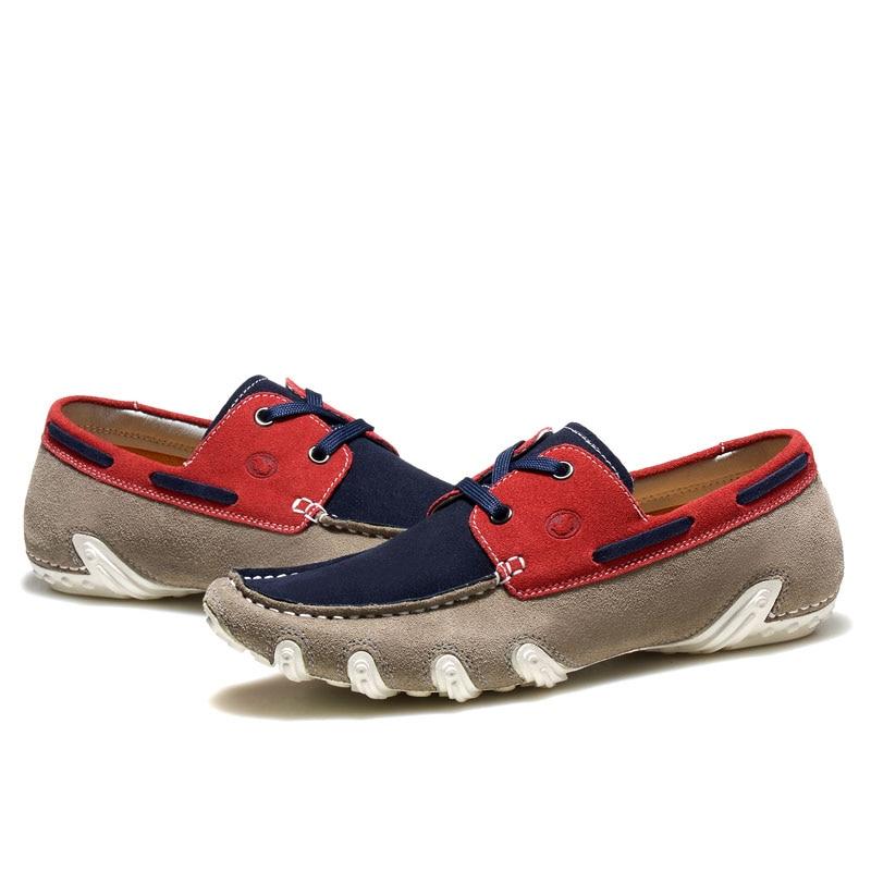 red Homens Moda Casual Flats De Luxo Masculino Dos Zapatos Marca Preguiçoso Genuíno Slip Sapatos Sapato On Loafer Couro grey Navy Calçado Condução ttwqp1