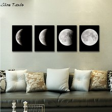 Modern Art Print on Canvas Home Wall Decor Poster Abstract The Moon 4PCS Framed quadros de parede para sala(China)