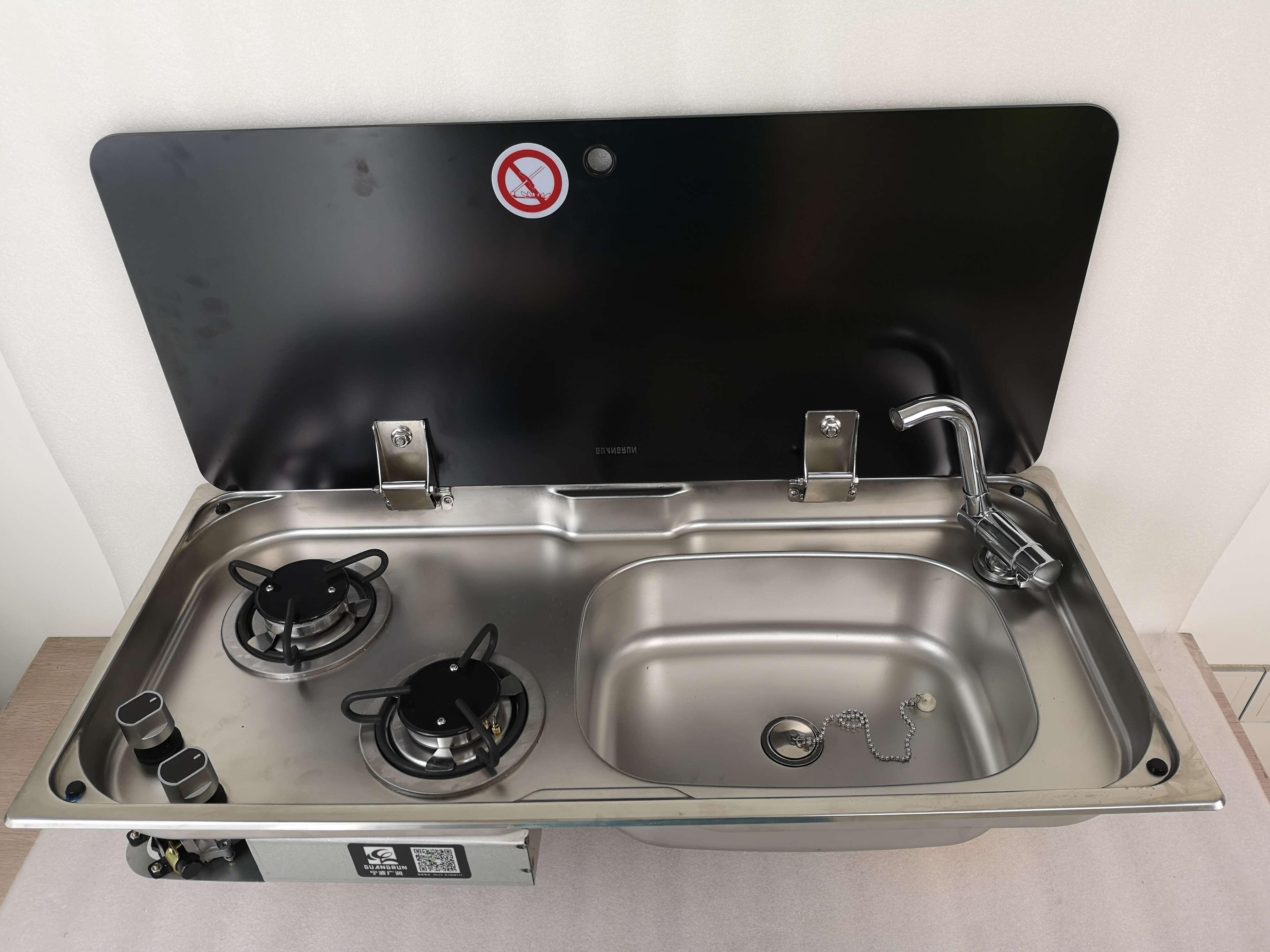 Boot Wohnmobil Brenner Gasherd Gaskochfeld Spülbecken mit Glasplatte Wasserhahn