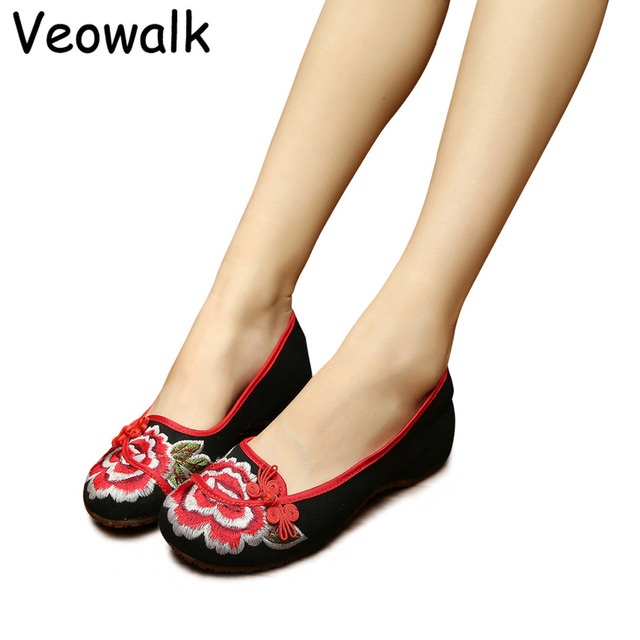 Veowalk Red Chinese Lucky Knot Women Slip on Canvas Ballet Flats Floral  Embroidered Ladies Leisure Walking Shoes Zapatos Mujer 28dd20d27249