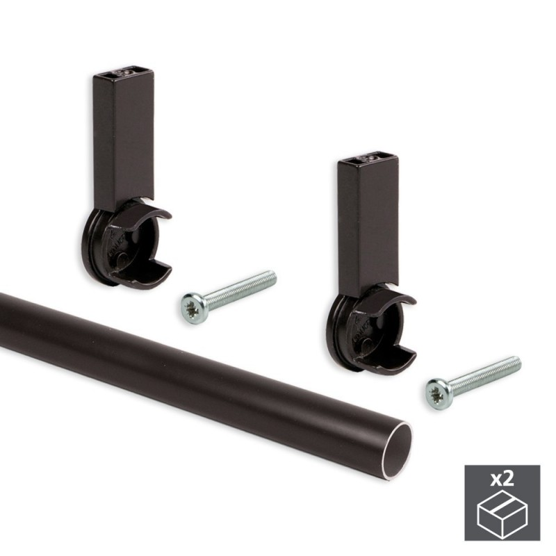 EMUCA 7062113-2 Aluminum Tubing Kit D. 28x950mm And Supports Moka For Wardrobe In Finishing Color Mocha