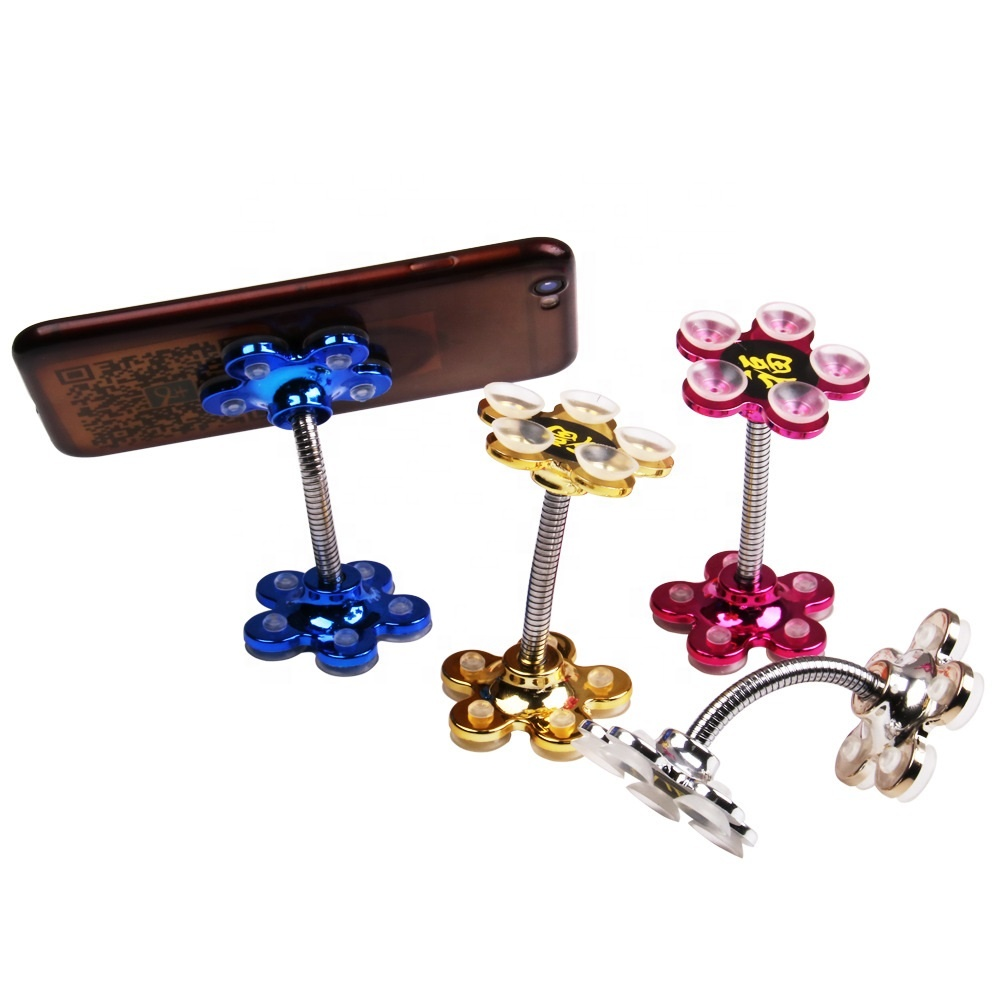 Sucker Stand For Cell Phone 360 Degree Rotatable Metal Flower Magic Suction Cup Mobile Phone Holder Car Bracket Mount Compatible