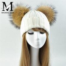 Invierno Beanie sombrero con dos Raccoon piel Pom mujeres invierno otoño  hizo punto gorros señoras gorra 1666e6060942