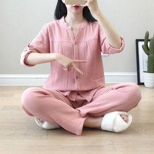 Image 3 - Krepa bawełniana z dekoltem w kształcie litery v piżamy garnitur kobiety jesień cienkie gaza małe stoisko kołnierz z długim rękawem spodnie koreański rozrywka usługi w domu