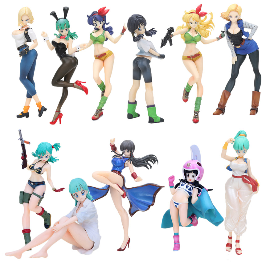 <font><b>Dragon</b></font> <font><b>Ball</b></font> Z Gals <font><b>Android</b></font> NO.<font><b>18</b></font> Bulma Lunchi Videl Chichi <font><b>Sexy</b></font> PVC Figure Collectible Model Toy image