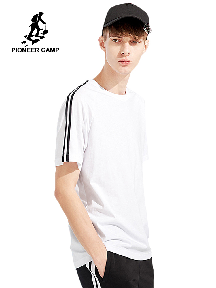Pioneer Camp new arrival   T  -  shirt   men brand-clothing fashion shoulder stripe   T     shirt   male top quality 100% cotton Tees ADT802122
