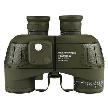 Original Germany Military Binoculars 10X50 High Times HD Telescope Quality Powerful Waterproof Binocular with Digital Compass Бинокль