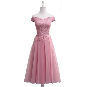 Image 2 - QNZL987D#Off Shoulder Gauzy pink lace up bridesmaid dresses new spring summer 2020 short Middle long style party prom dress