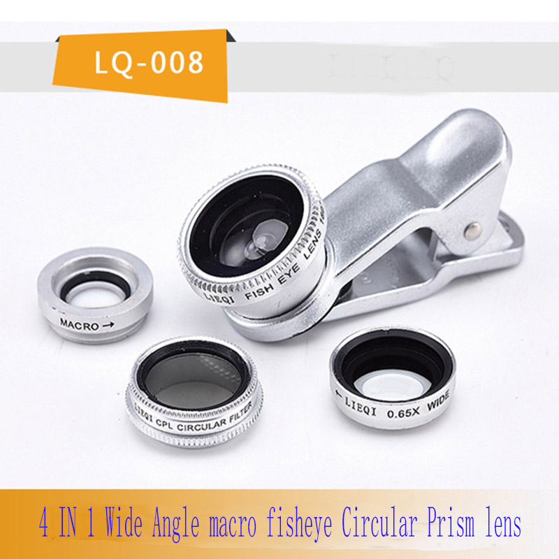 Mobile Phone Lens  4 in 1 Fish Eye Lenses Wide Angle Macro Universal SmartPhone Clip Zoom Lens Camera For iPhone Samsung Huawei