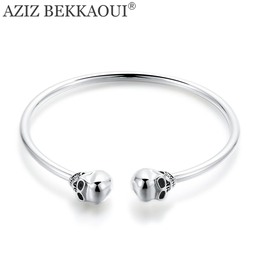 AZIZ BEKKAOUI Famous Brand Basic Cuff Bangle Skull Head Bracelet Opening Bangle with Double Skeleton Charms Punk Cool Style