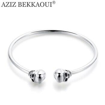 AZIZ BEKKAOUI Famous Brand Basic Cuff Bangle Skull Head Bracelet Opening Bangle with Double Skeleton Charms Punk Cool Style bangle