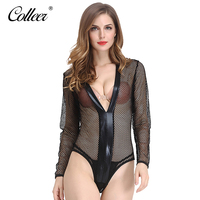 COLLEER Sexy Women Bodycon Black Net Bra Kit Panties Set Bralette Lace Halter Bra Lingerie Hollow