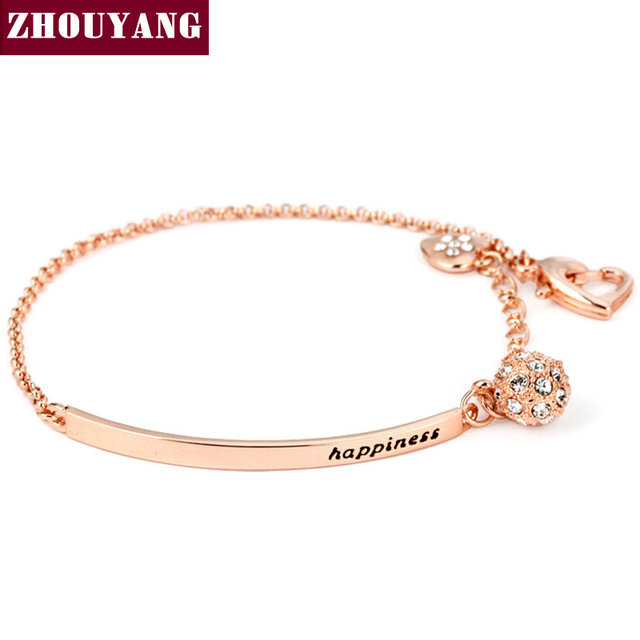 OL Style Cubic Zirconia Rose Gold Color Ball Fashion Party Charm Bracelets & Bangles Jewelry Top Quality ZYH196