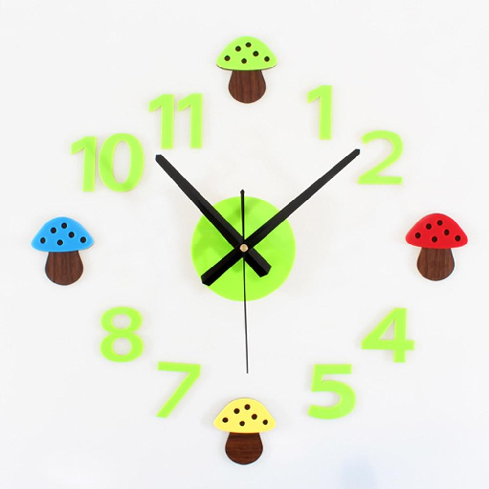 Us 20 32 15 Off Creative Diy Wall Clock Modern Design Decorative Kids Room Clocks Fun 3d Stickers Green Cute Cartoon Wall Watch Home Decor In Wall