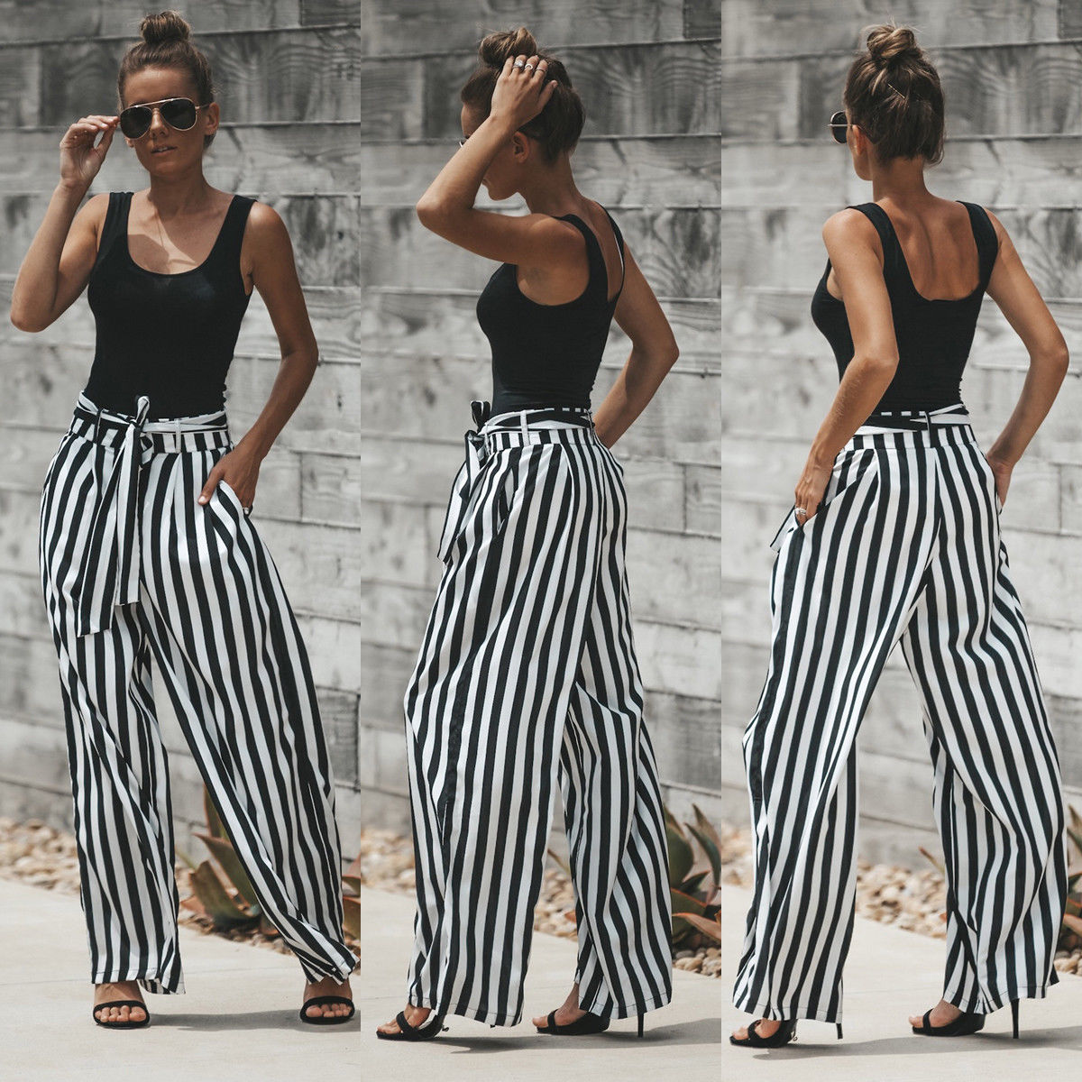 Pants & Capris 2018 Summer Hot Fashion Breathable Loose Black And White Stripe Bow Sexy Lady High Waist Frill Wide Leg Pants Bottoms