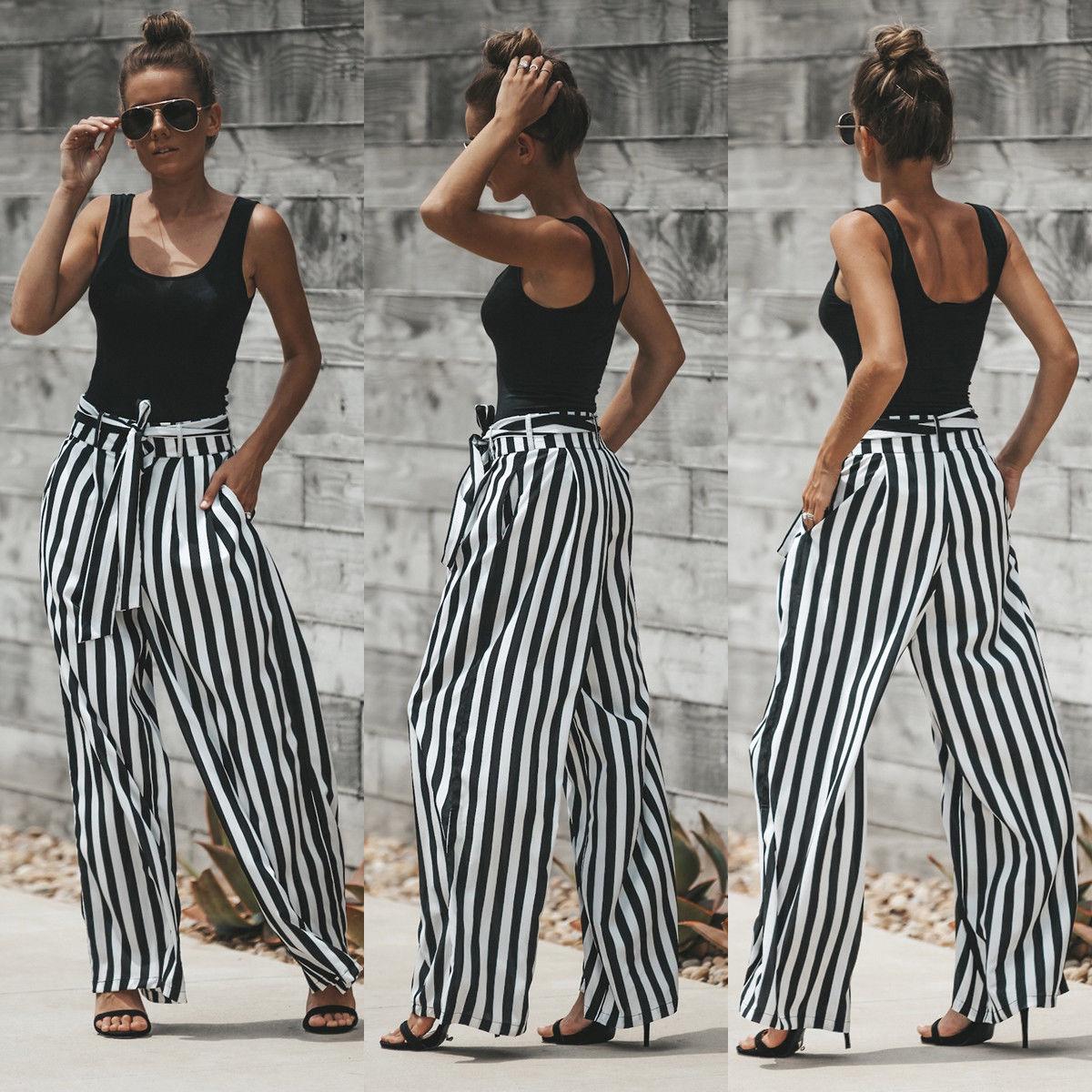 2018 Fashion Pants Women's High Waist Casual Black& White Striped Long Pants Ladies Wide Leg Loose Trousers Stylish Streetwear