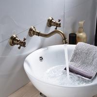 Vintage Antique Brass Widespread Bathroom Sink Faucet Dual Handles 3 Holes Mixer Tap Wall Mount Tub Faucet Mixer Tap