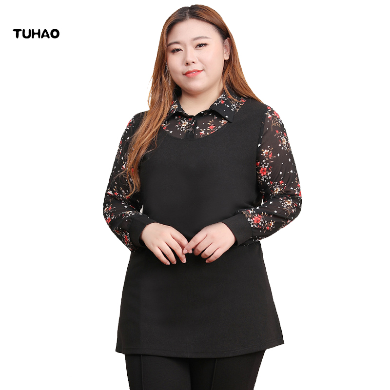 TUHAO 2019 nouveau printemps Blouse femme en mousseline de soie noir dentelle impression fleur Blouse grande taille 10XL 8XL 6XL Blouse bureau dame chemises MSFS