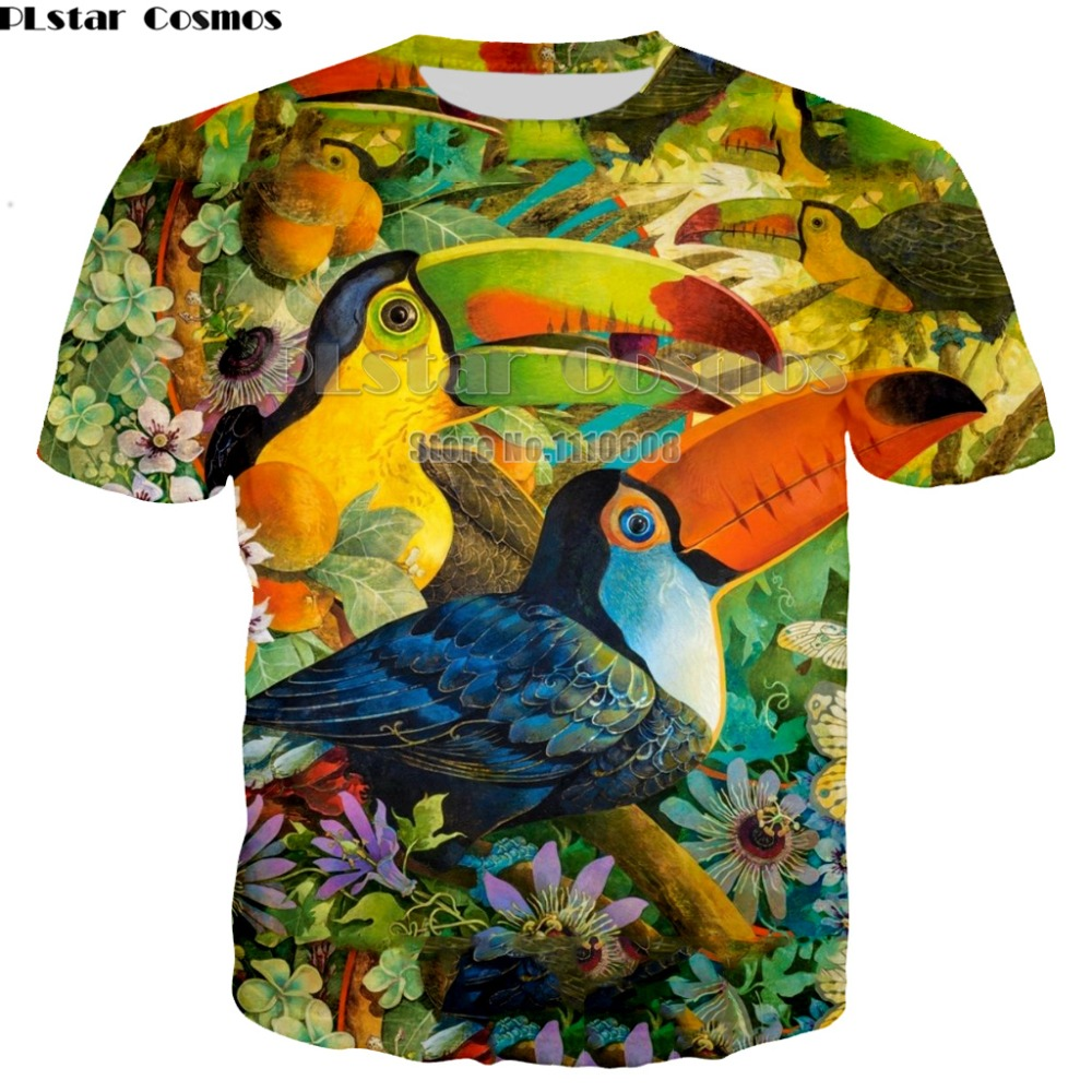 Parrot T-shirts Men/Women Summer Tops Tees Print colorful 3d T shirt Men Fashion Tshirts Plus dropship