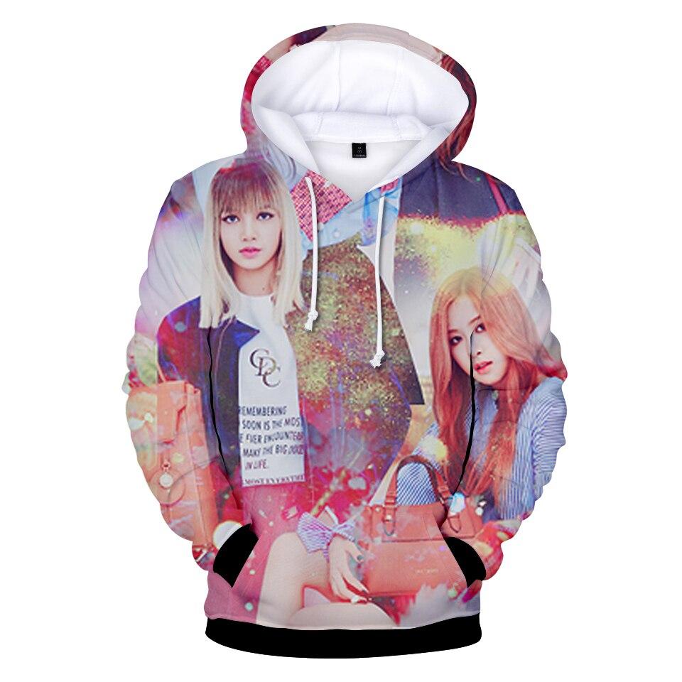 New Korean BlackPink Hoodie Korean Idol Sweatershirt Pullover Rose Casual Women/men Cool Black Print Hat Hoodie XXS To 4XL