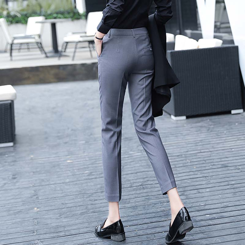 Image 4 - Women Slim Straight Suit Pants Female Summer Korean High Waist Pockets Trousers Women Causul Solid Loose AnkleLength Cargo Pants-in Pants & Capris from Women's Clothing