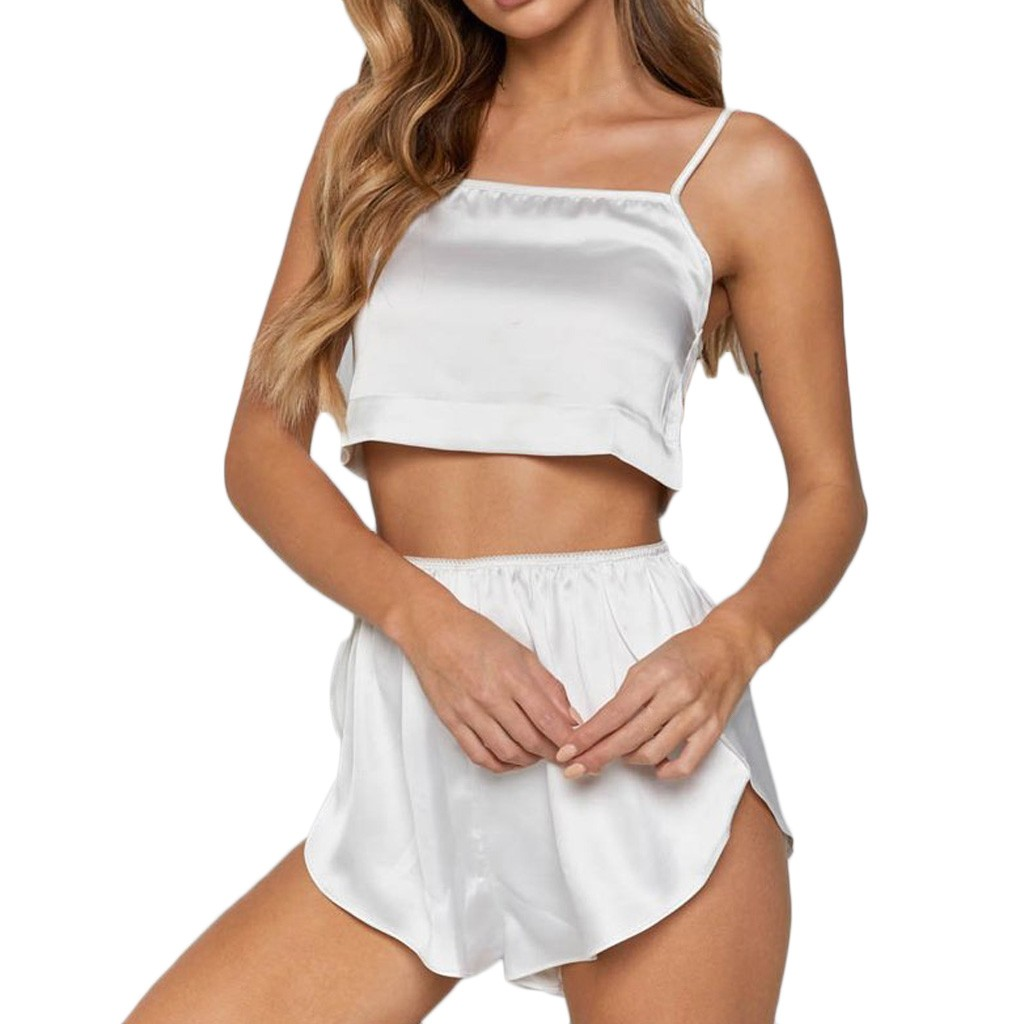 Women Sexy Sleepwear Lingerie Silk Satin Loose Casual White Pajamas Camisole Set New Summer E1