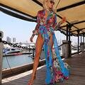 2017 estilo de moda de verano beach long dress alta división profunda v manga larga atractiva de la impresión floral del partido de la gasa maxi dress vestidos