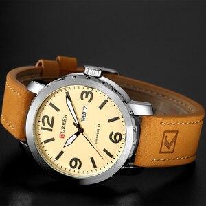 Image 4 - CURRENファッションメンズ腕時計militrayスポーツクォーツ腕時計革防水男性腕時計レロジオmasculino