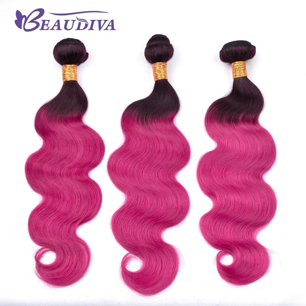 BEAU DIVA Remy Hair Extensions 10 inch-26 inch Brazilian TB/DEEP PINK Body Wave Hair Weaving 100% Human Hair Weave Bundle