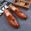 Tidog El nuevo bloque borla señaló hombres mocasín zapatos de cuero calzado casual de negocios Británico