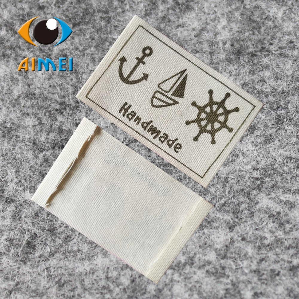50 개/몫 스팟 핸드 메이드 코 튼 인쇄 레이블 의류 손으로 만든 코 튼 인쇄 레이블 가방에 대 한 봉 제 손 작업 태그 선물에 대 한