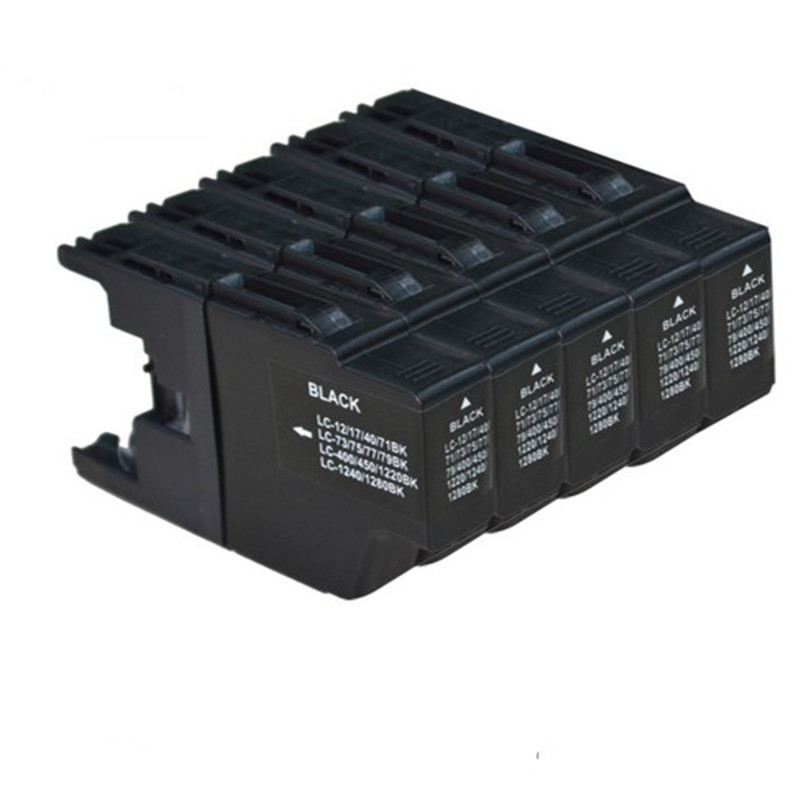 5 Bk Ink Cartridges Replacement For Brother LC12 LC17 LC71 LC73 LC79 DCP - J725DW J940N-W J540N J740N J925N J525W LC1240 1280