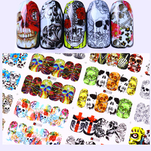 1 big sheet halloween skull nail water decal flower diy transfer sticker manicure full nail wraps 12 patterns