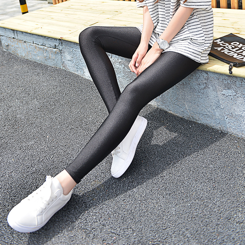 S-XXL Women's Spring and Autumn Fashion   Leggings   Women Super Elastic Slim Gloss Pants Girls Thin Cropped Trousers